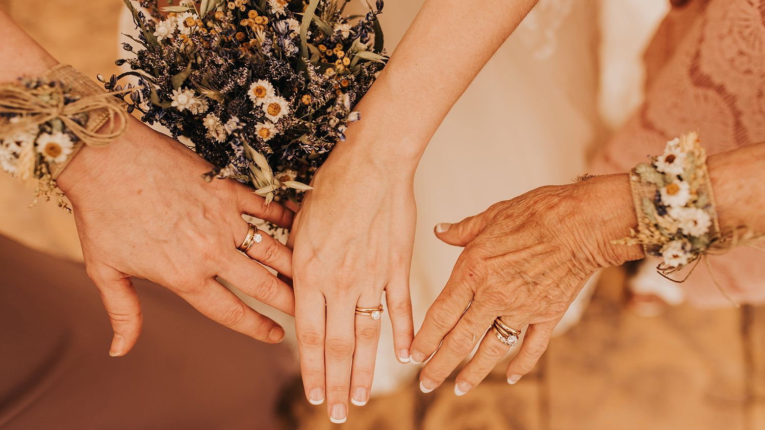 3 Generations of Hands bearing Wedding Rings