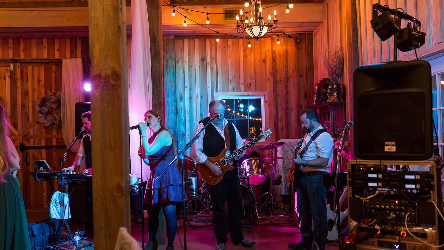 Live Band playing during Reception in the Barn