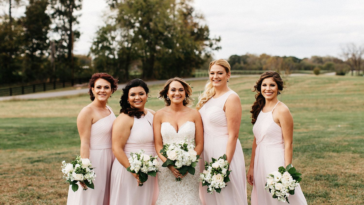 Bridal Party Farm Field