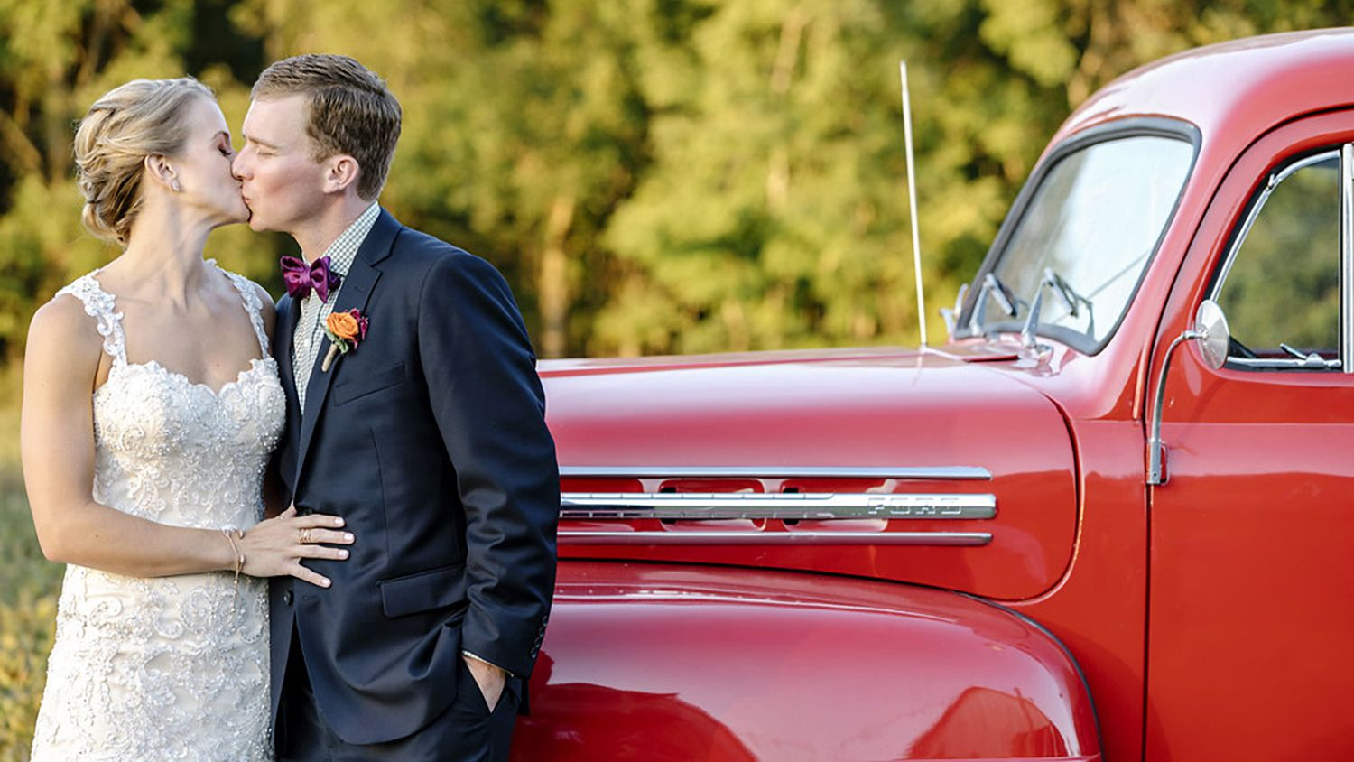 Bride And Groom Kissing Red Truck2