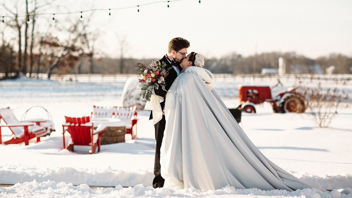 Bride And Groom Kissing Winter Snow