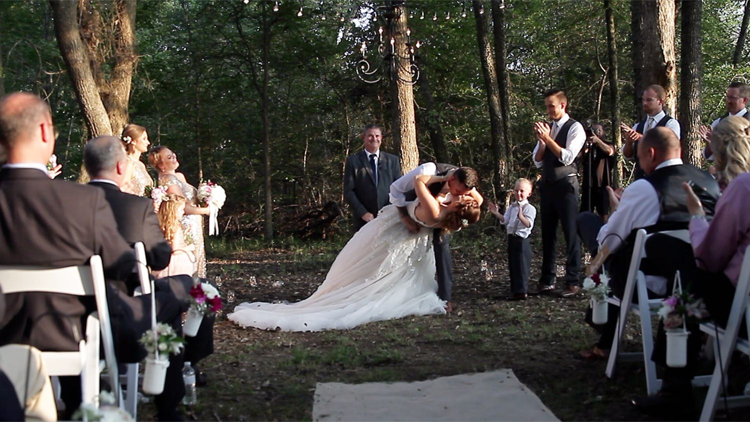 Bride And Groom Kissing Ceremony Woods