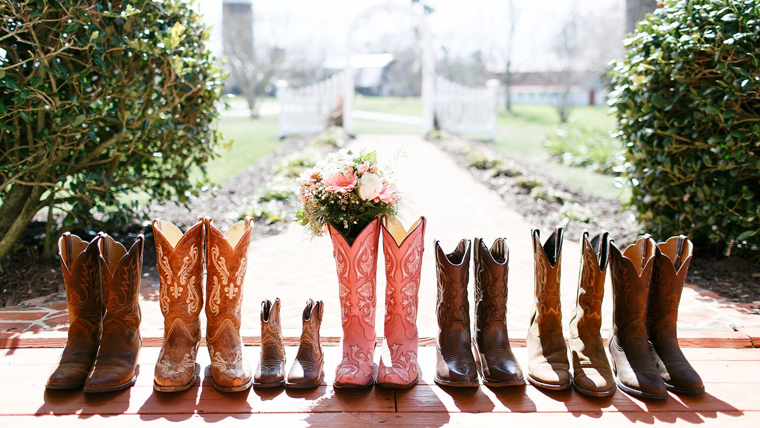 Bridal Parties Cowboy Boots with Bouquet on Front Porch
