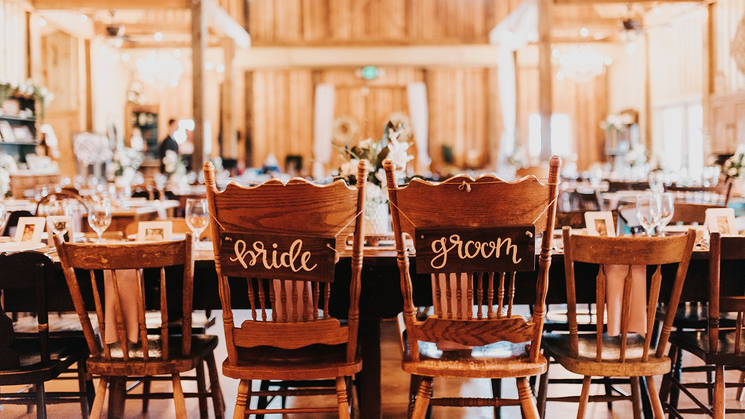 Reception Barn Bride And Groom Table With Chairs