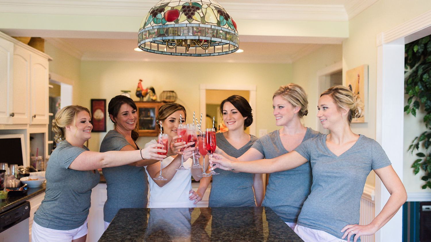 Farmhouse Kitchen with Bridal Party Toast
