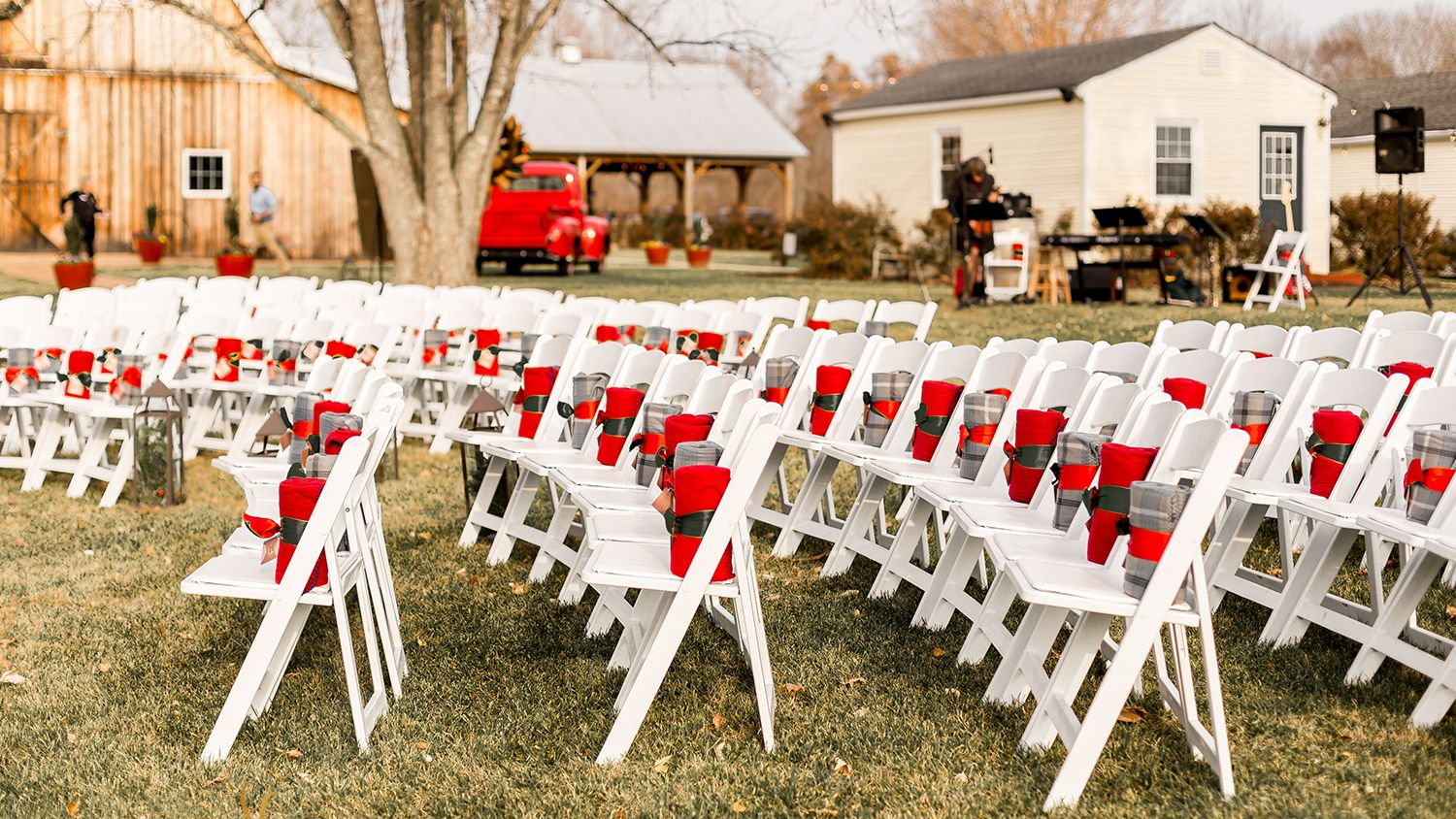 Winter Wedding facing the Gazebo with blanket favors to keep  guests warm