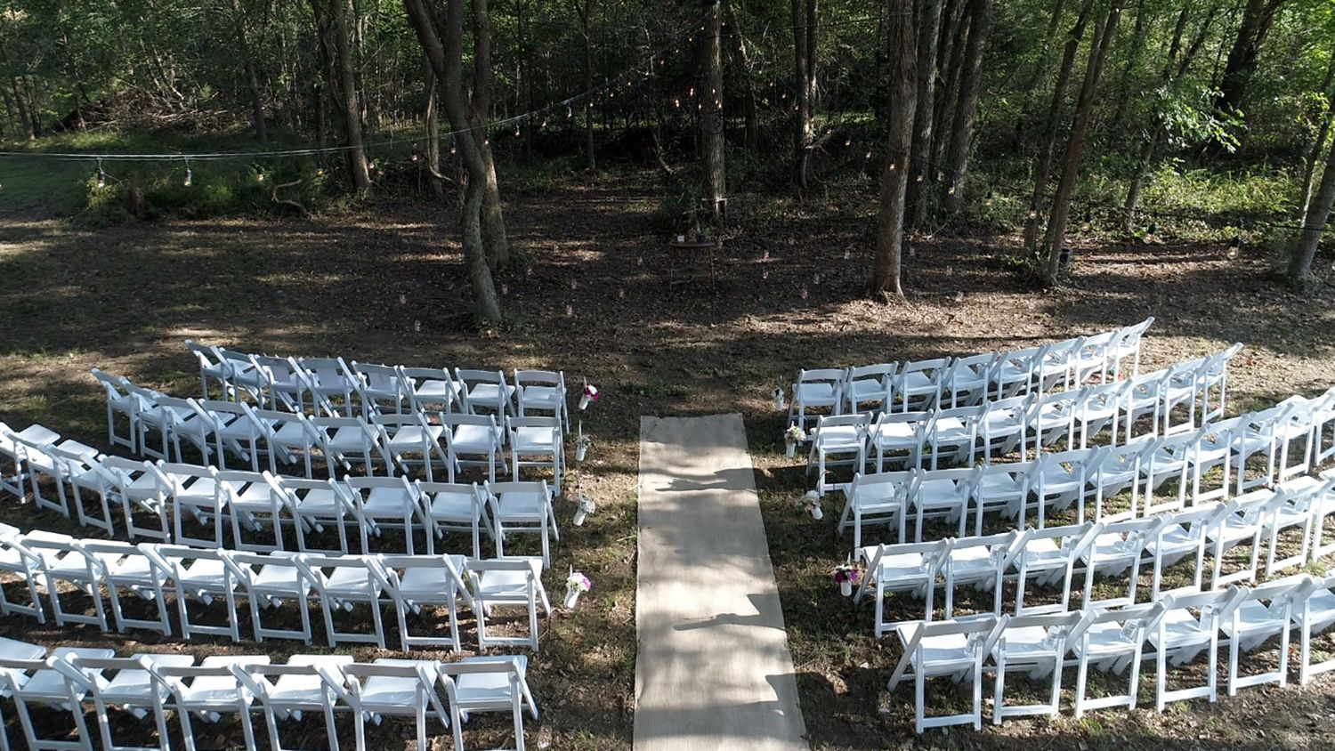 Wedding Ceremony Set up in Woods