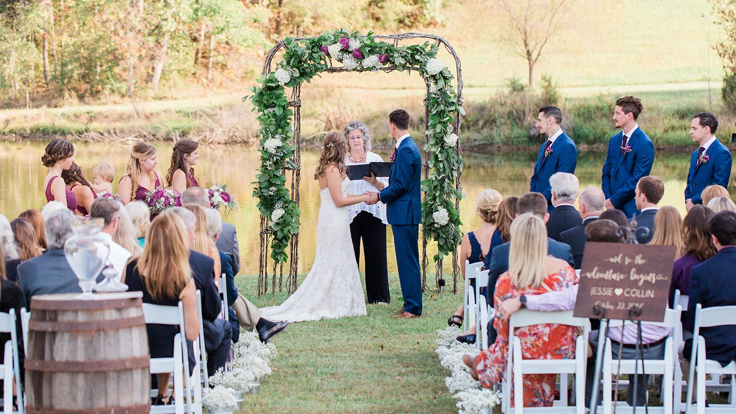 Wedding Ceremony Vows by the Pond