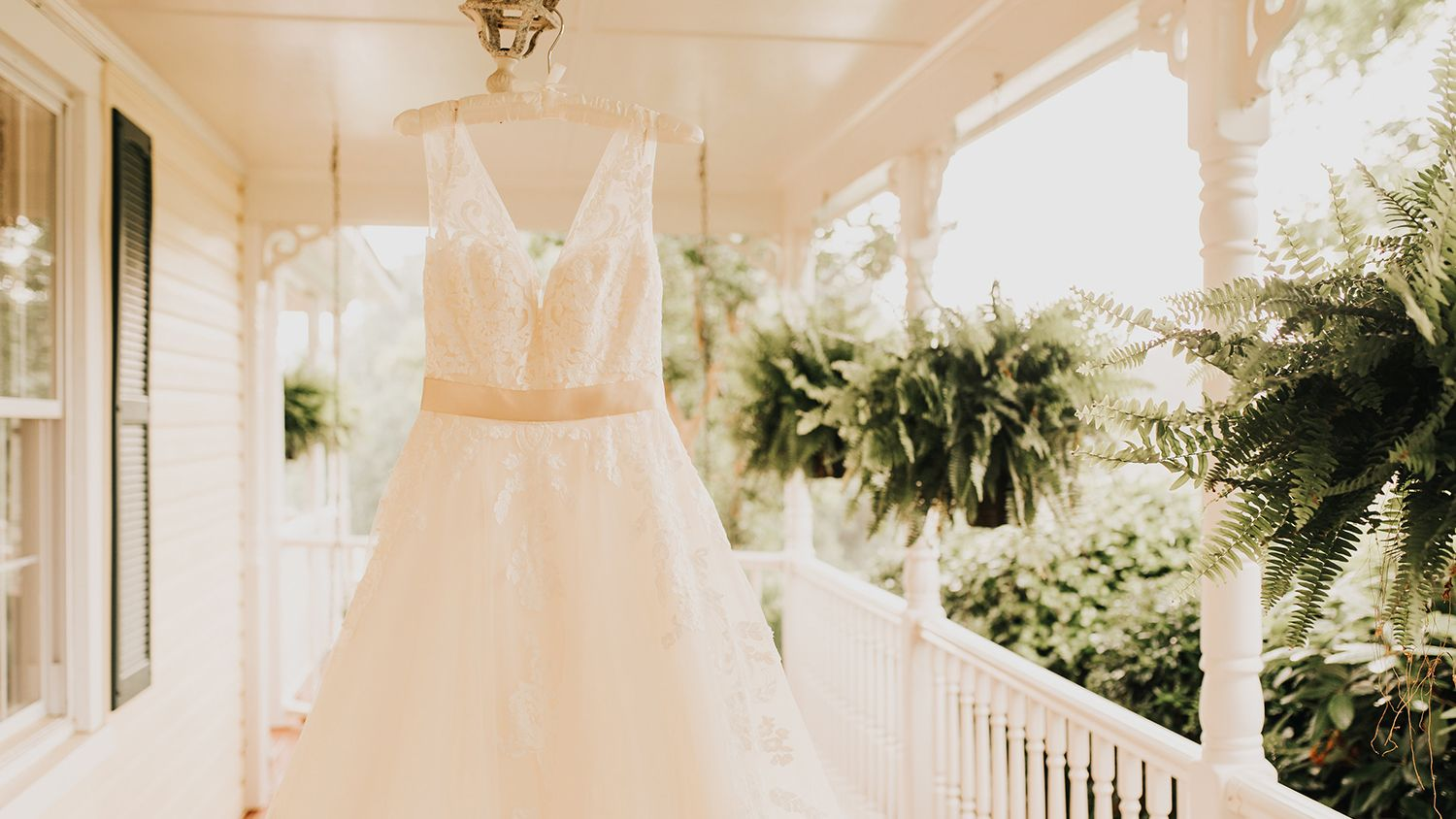 Wedding Dress Hanging Front Porch