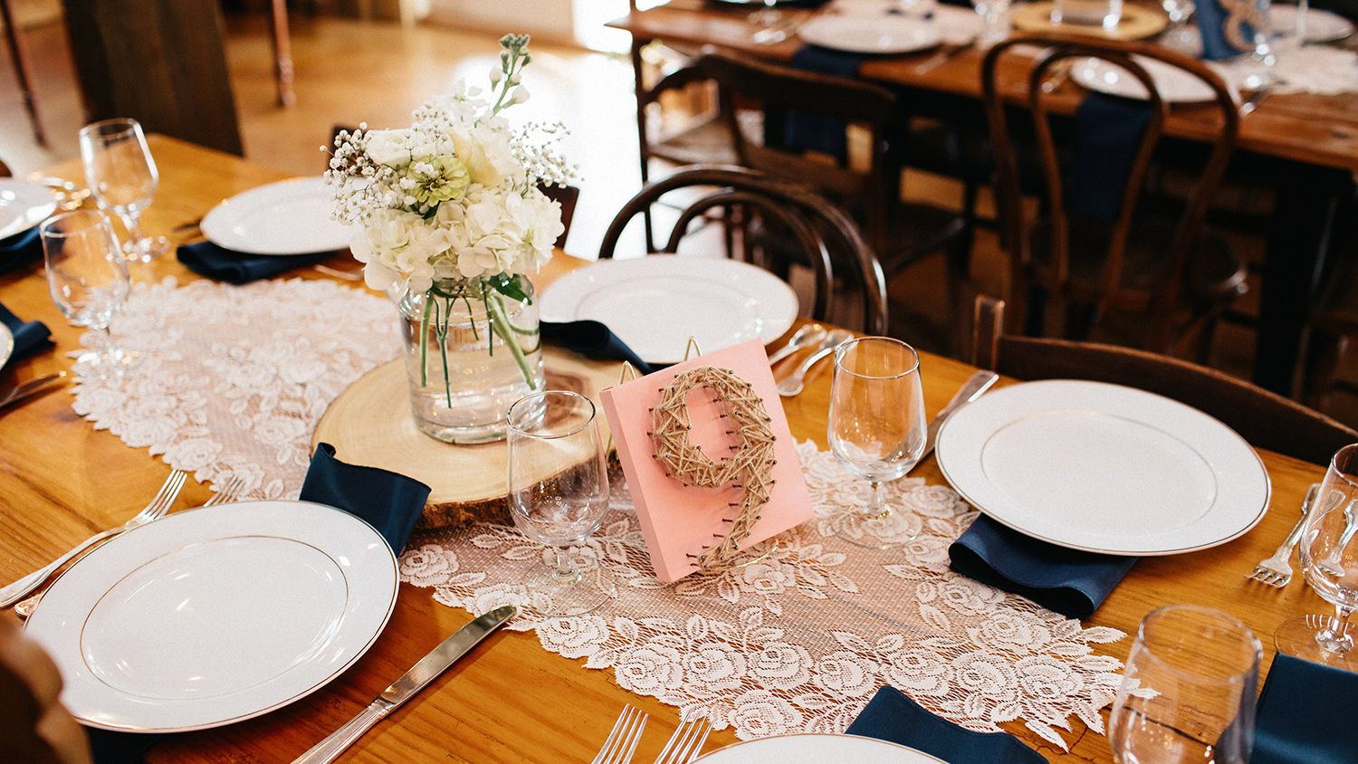 Wedding Reception Barn Table Setting